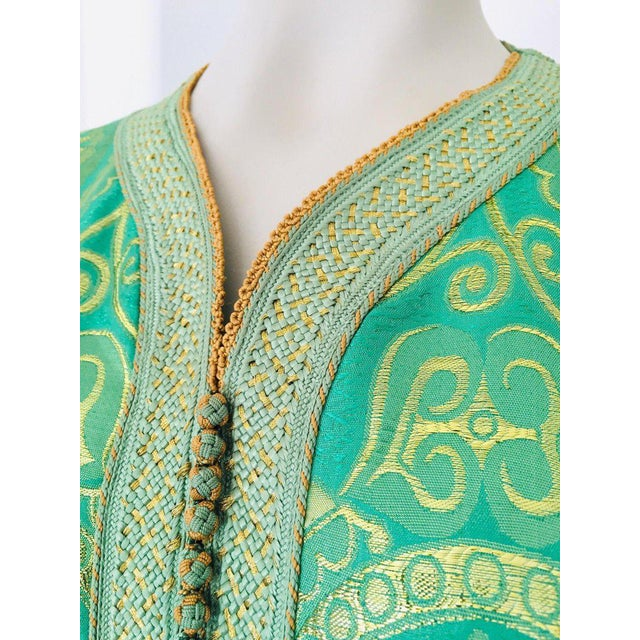 Elegant Moroccan caftan lime green and gold lame metallic floral brocade, This is an exceptional example of Moroccan...