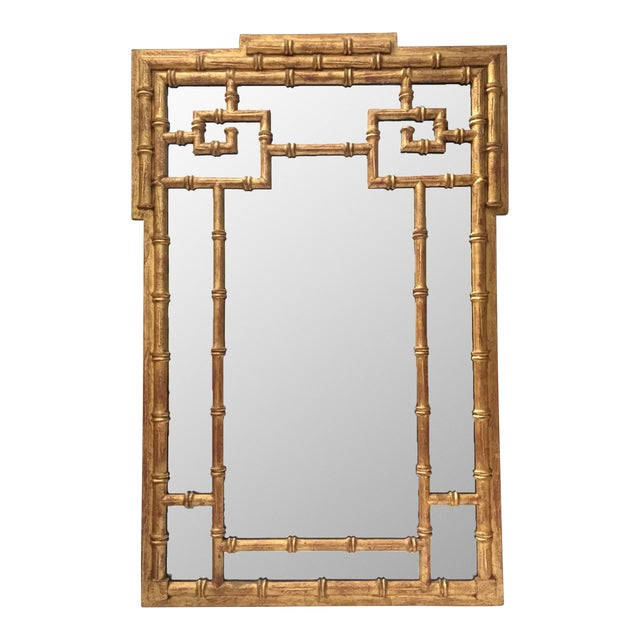 La Barge Asian Chinoiserie Gold Faux Bamboo Wall Mirror For Sale
