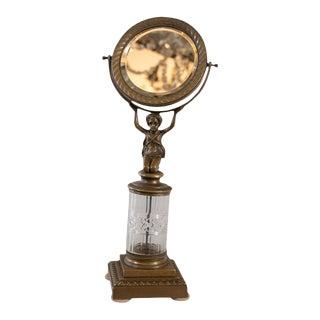1900s Antique Empire Bronze Table Mirror For Sale