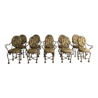 French Rope and Tassel Gilt Arm Chairs - Set of 10 For Sale