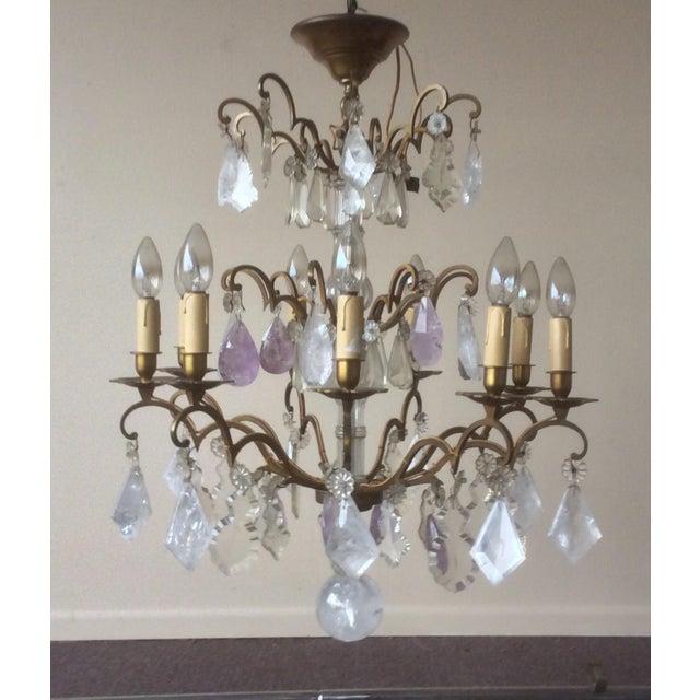 Rock Crystal Quartz And Amethyst Chandelier Chairish - Quartz chandelier crystals