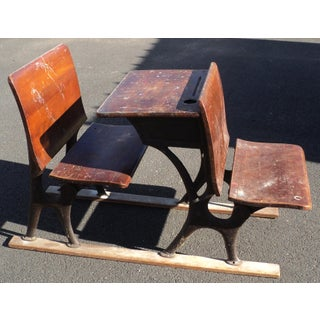 Antique Vintage Industrial Double School Desk Preview