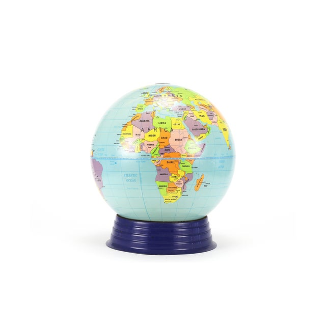 "A vintage large ""simplified"" cram's globe resting in a blue metal cradle stand. Salvaged from an retired elementary..."