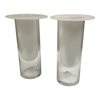 Double Glass Vases - a Pair For Sale