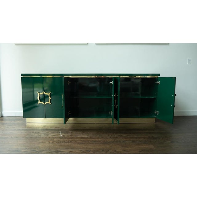 1960's Hollywood Regency Emerald Green Laminate Credenza For Sale - Image 4 of 13