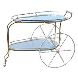 Brass & Chrome Glasstop Tea Cart For Sale
