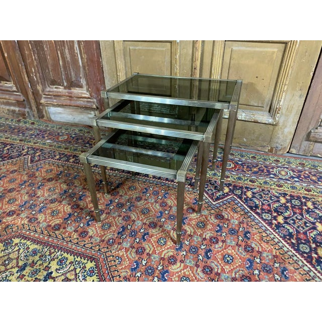 Mid 20th Century Maison Jansen Mid Century Silvered Brass and Glass Nesting Tables - Set of 3 For Sale - Image 5 of 5
