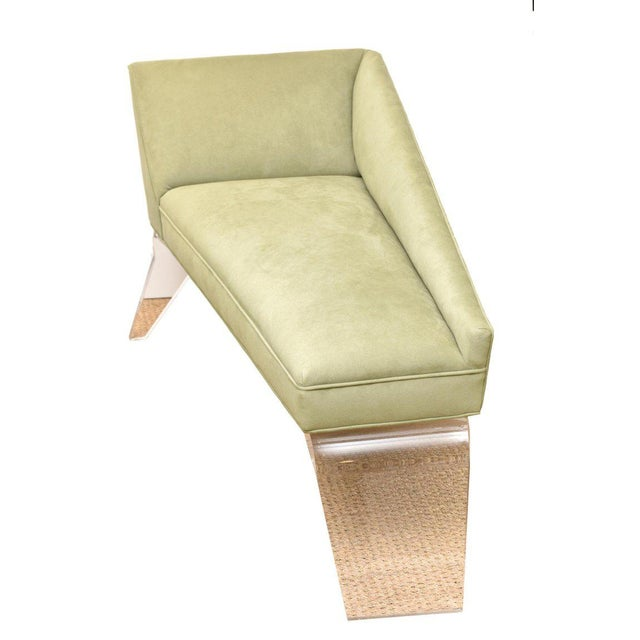 This ultra chic signed Haziza Lucite and upholstered sculptural chaise lounge / settee is a great small size. Its angles...