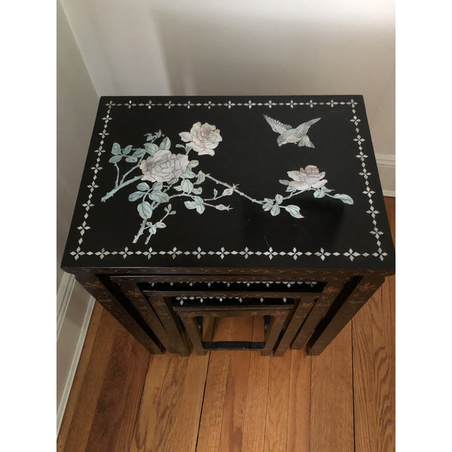 Mid Century Asian Black Lacquer Nesting Tables - Set of 4 For Sale - Image 12 of 13