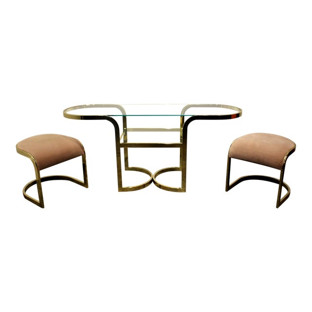 Brass Console Cafe Table With Pink Chairs by Dia Design Institute of America For Sale