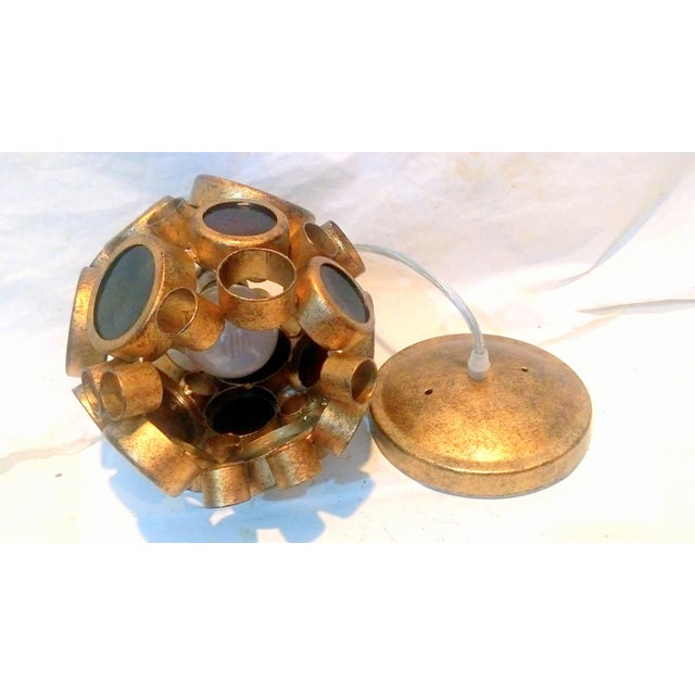 Vintage Brass & Espresso Glass Barnacle Pendant Light - Image 8 of 9