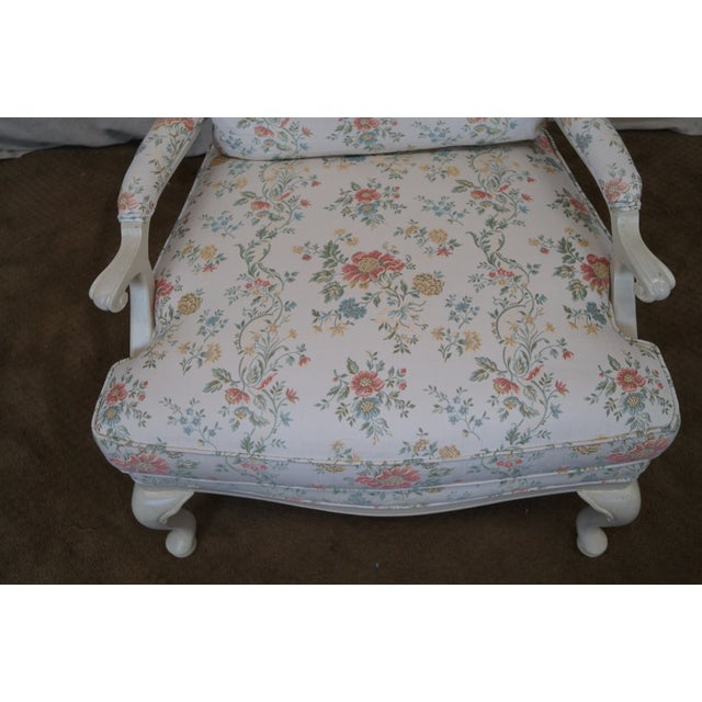 Large French Style Paint Frame Lounge Chair - Pair - Image 6 of 10