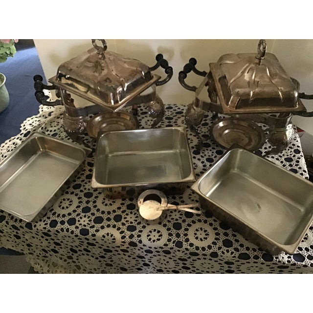 Metal Vintage Silverplate Covered Buffet Server Chafing Dish a Pair For Sale - Image 7 of 12