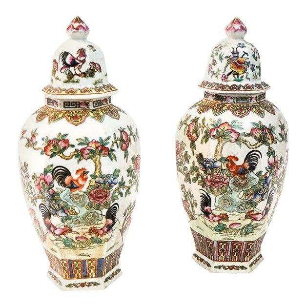 Canton Porcelain Jars, circa 1950 - A Pair For Sale