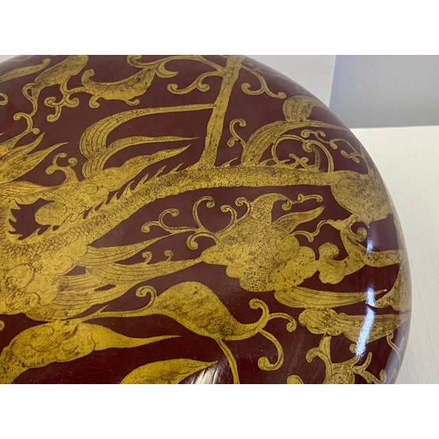 Traditional Maitland Smith Red Lacquer & Giltwood Box For Sale - Image 3 of 10