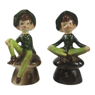 1950s Enesco Pixie Salt & Pepper Shakers - a Pair For Sale