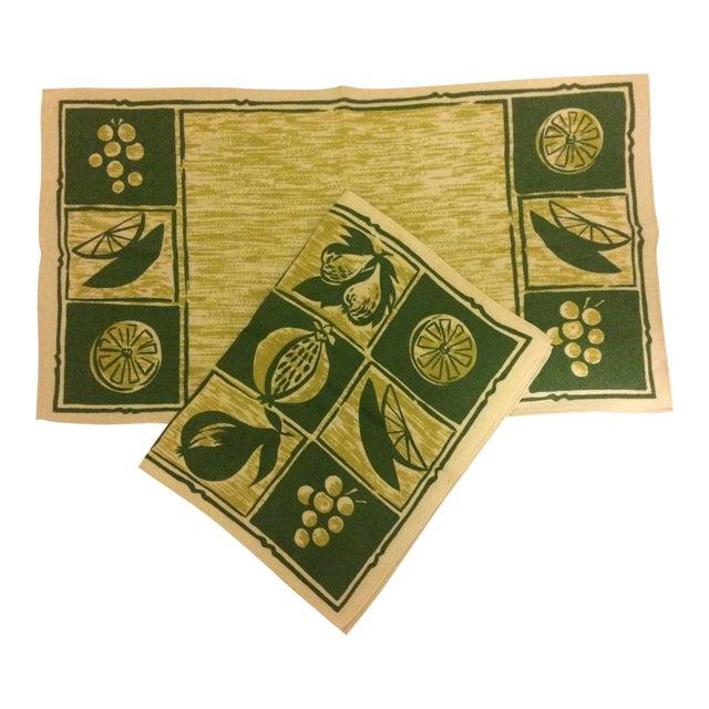 Vintage Linen Placemats & Napkins - Set of2 - Image 1 of 4