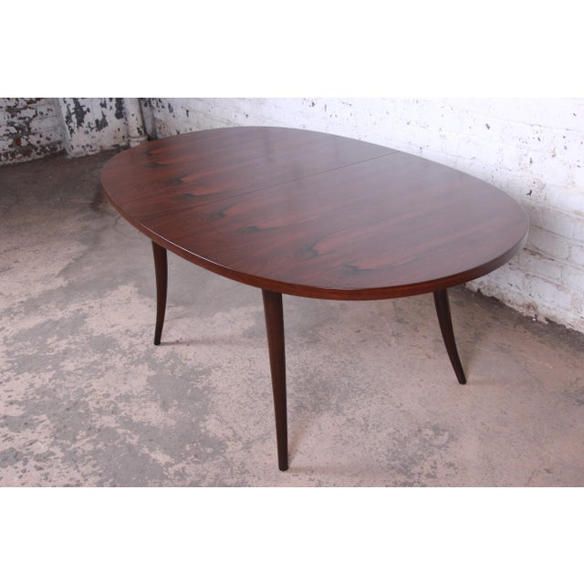 Brown Harvey Probber Mid-Century Modern Saber Leg Rosewood Extension Dining Table, Newly Refinished For Sale - Image 8 of 13
