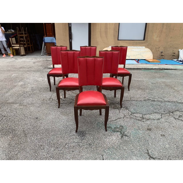 Beautiful classic set of six French Art Deco dining chairs solid mahogany, the chair frames are in excellent condition. (...