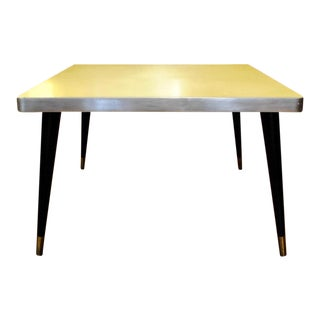 Mid Century Modern Retro Square Yellow/Chrome Coffee Table For Sale