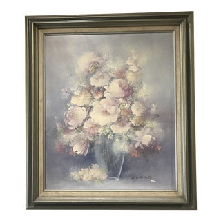 Pink Peonies in a Vase Original Painting on Canvas For Sale