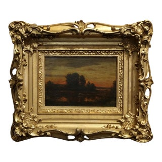 Theodore Rousseau -Sunset on a French Countryside-19th C. Barbizon School Oil Painting