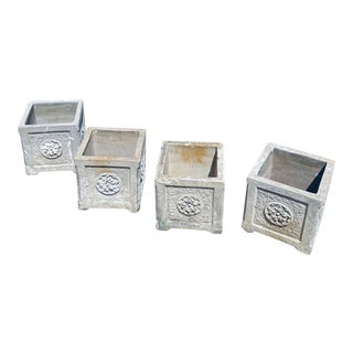 1940s Vintage Cement Planter Boxes With Motif - Set of 4 ( Very Rare ) For Sale
