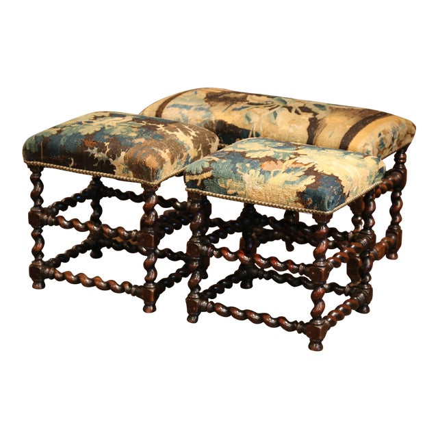 19th Century French Carved Walnut Stools and Bench With Aubusson Tapestry - Set of 3 For Sale