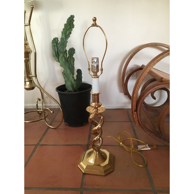 Twisted Brass Table Lamp - Image 3 of 6