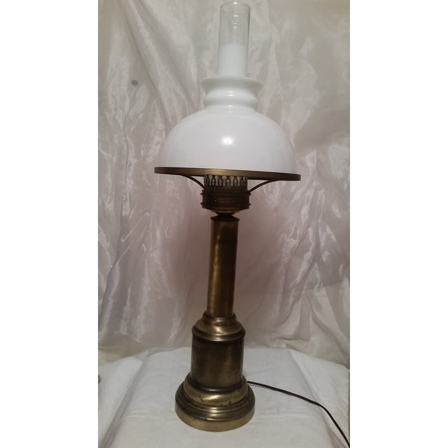 French Country Glass & Brass Table Lamp - Image 2 of 7