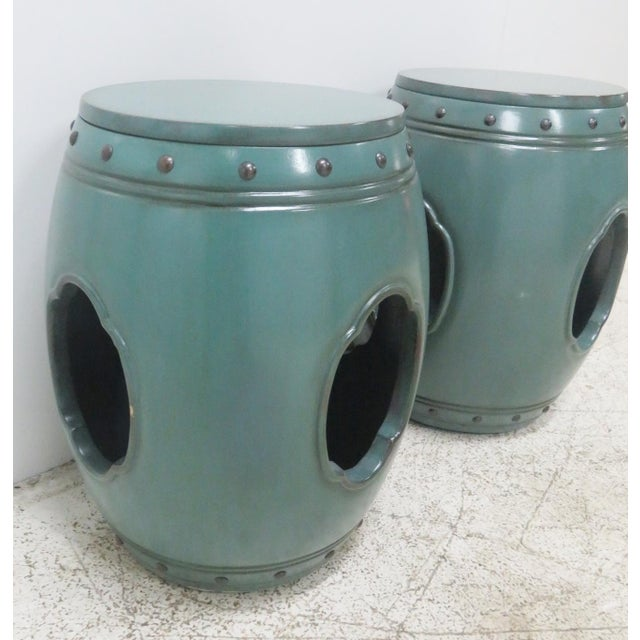 Asian Green Lacquered Garden Stools- A Pair - Image 2 of 8
