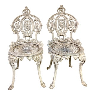 Pair of Ornate Garden Chairs For Sale