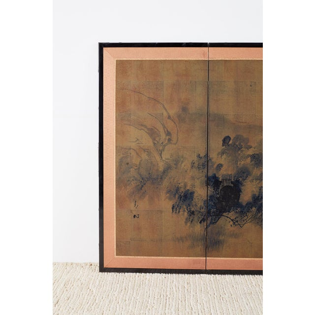 Asian Japanese Four-Panel Screen of Pagoda Bridge Landscape For Sale - Image 3 of 13