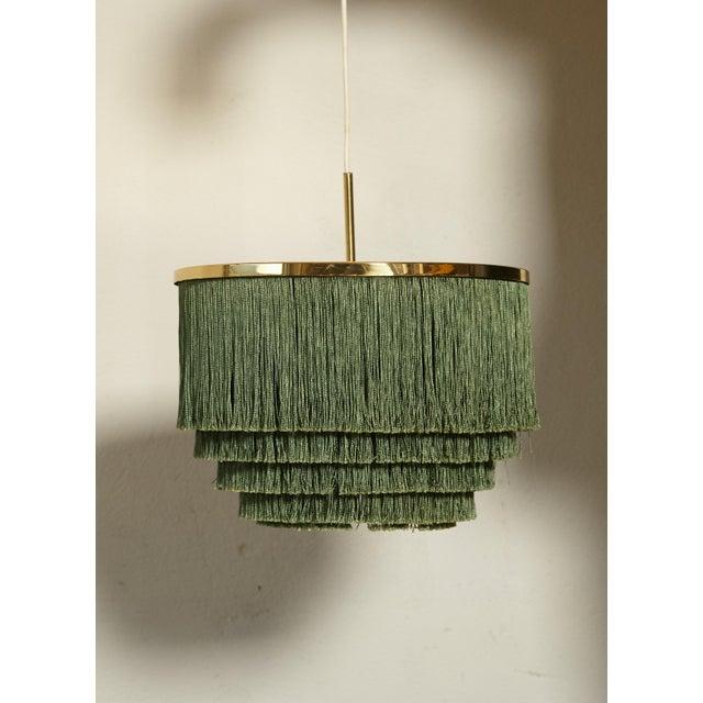 1960s Hans-Agne Jakobsson Green and Brass Fringe Ceiling / Pendant Lamp, Sweden, 1960s For Sale - Image 5 of 7