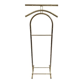 Hollywood Regency Brass Faux Bamboo Valet For Sale