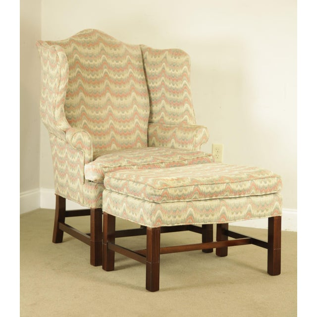 High Quality American Made Mahogany Frame Wing Chair with Custom Upholstery Store Item#: 23581