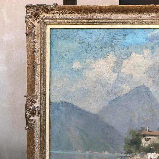 Antique Framed Oil Painting on Canvas For Sale In Dallas - Image 6 of 12