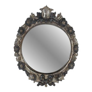 Oval Shaped Wood Carved Mirror Frame For Sale