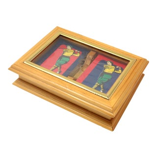 Vintage Sets of Golf Themed Standard Playing Cards in Wood and Glass Box For Sale