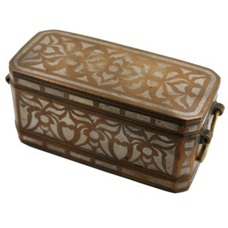 19th Century Spanish Colonial Silver and Bronze Inlaid Betel Nut Box For Sale