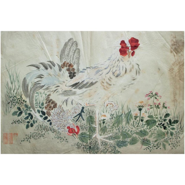 Late 19th Century Meiji Era Large Japanese Roosters Watercolor Painting For Sale