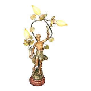 "Early 20th Century French Figural ""Génie De La Musique"" Table Lamp - Signed Guillemin For Sale"