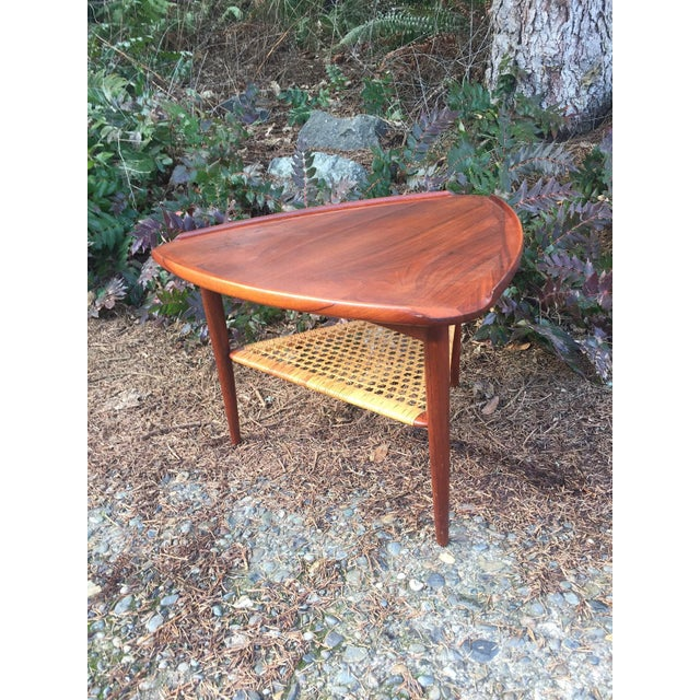 Danish Modern Teak & Cane Side Table - Image 2 of 9