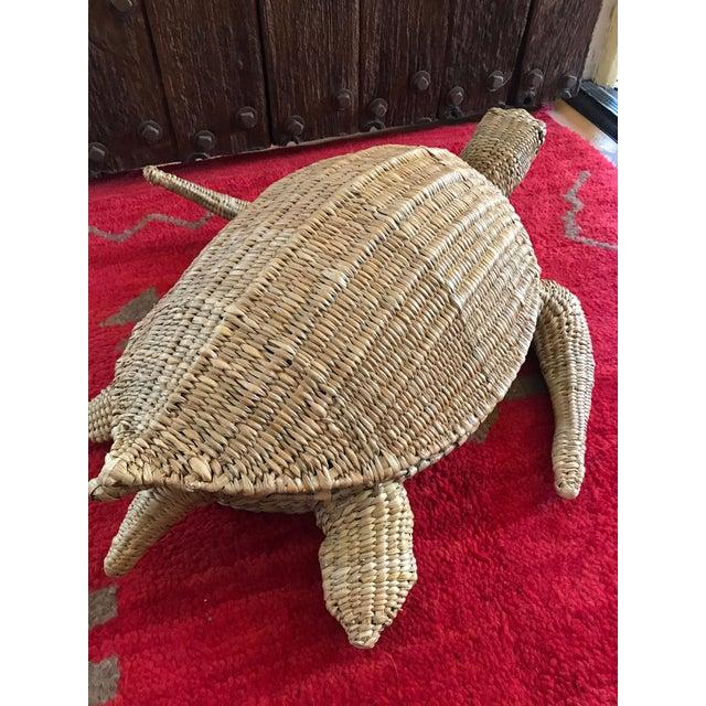 Fiber Mario Lopez Torres Woven Sea Turtle Decorative Storage Container For Sale - Image 7 of 8