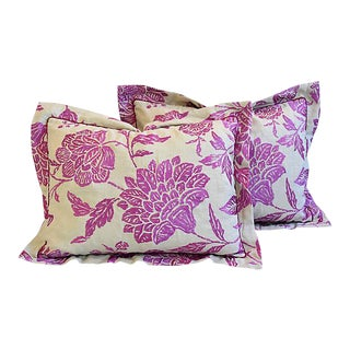 Custom Tailored English Embroidered Floral Feather/Down Pillows - Pair
