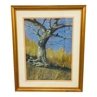 Original Gouache Landscape in Frame For Sale