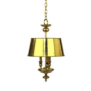 Late 20th Century English Traditional Brass Three Light Bouillotte Chandelier For Sale