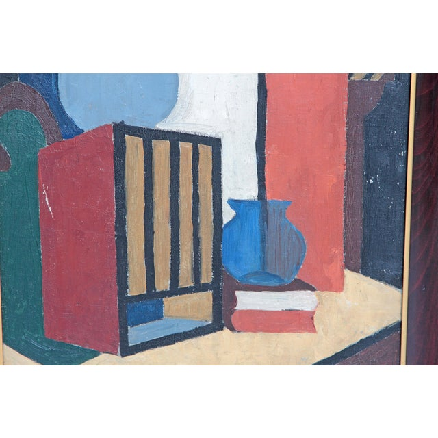 Blue 20th Century American Abstract Still Life by Flora Scofield, Oil on Canvas For Sale - Image 8 of 12