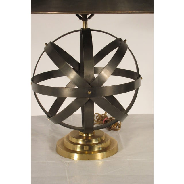 1970s Metal Orb Lamp With Metal and Brass Shade For Sale In New York - Image 6 of 12