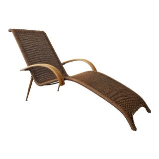 Mid Century Sculptural Italian Modern Cane and Bamboo Chaise Lounge Chair For Sale
